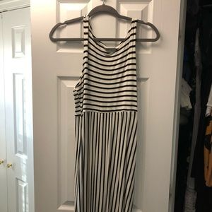 Jolie Women's Black & White Striped Maxi Dress